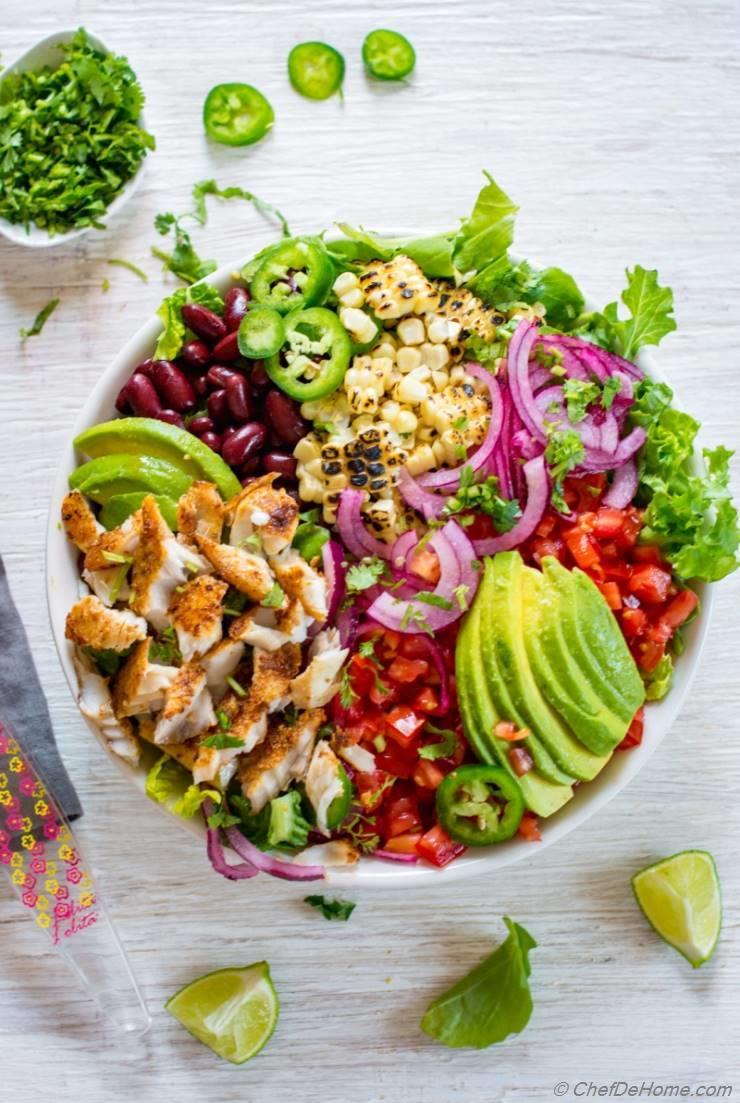 Blackened Fish Taco Salad Recipe | ChefDeHome.com