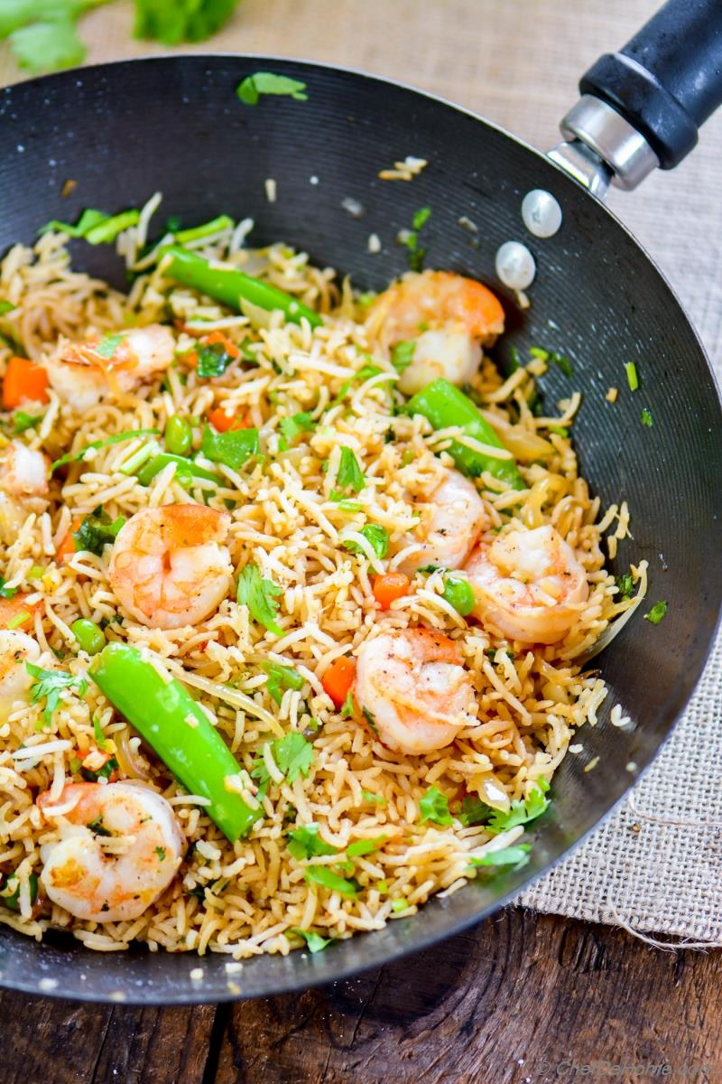 Spicy Shrimp Fried Rice loaded with vegetables and fried with Asian ...