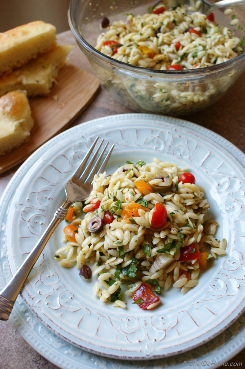 Lemon Orzo Pasta Salad with Olives and Tomatoes Recipe ...