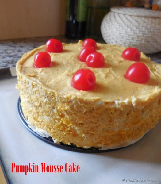 Orange Pumpkin Mousse Cake Recipe | ChefDeHome.com