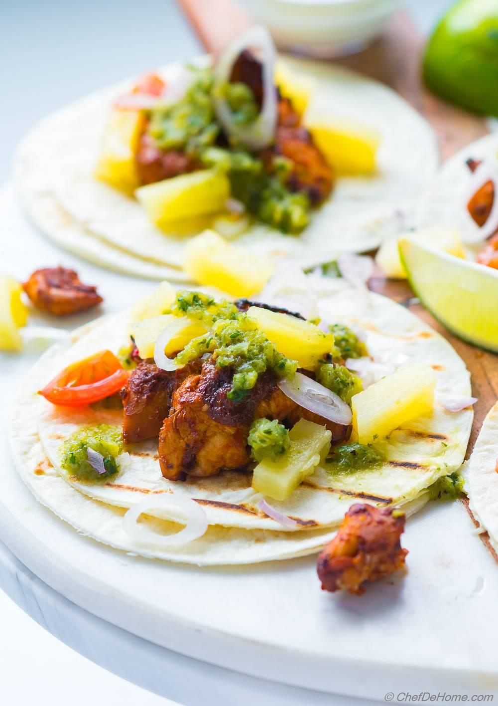 Tacos Al Pastor with pineapple and salsa verde