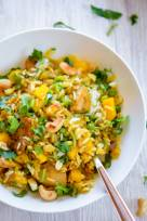 Coconut Cashew Curry Chicken and Rice with Mango