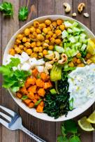 Spicy Chickpeas and Sweet Potato Salad Bowl