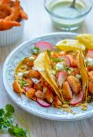 Cauliflower Rice Shrimp Tacos with Jalapeno Cream Sauce