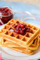 Spiced Sour Cream Waffles with Stewed Cranberries