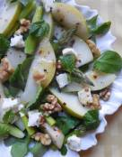 Pear and Asparagus Salad with Walnuts and Goat Cheese