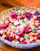 Chickpeas and Beets Salad with Creamy Tahini Dressing