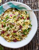 Brown Rice Salad with Mushroom and Lemony Dressing
