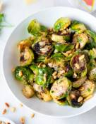 Sauteed Brussel Sprouts with Garlic Parmesan Sauce