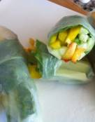 Cucumber Fresh Rolls with Peaches and Basil