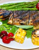 Cajon Seasoned Grilled Whole Branzino with Lemons