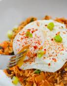 Spicy Kimchi Fried Rice with Poached Egg
