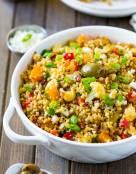Mediterranean Warm Quinoa Salad with Squash and Cauliflower