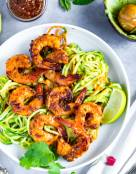 Chipotle Shrimp with Avocado Sauce Zucchini Noodles