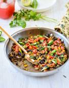 Southwest Skillet Quinoa (Rice) and Beans with Tomato-Mint Salsa