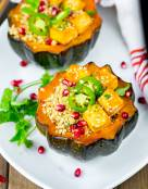 Honey Sriracha Roasted Acorn Squash Quinoa Bowl