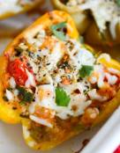 Chipotle Chicken and Chickpea Stuffed Heirloom Peppers