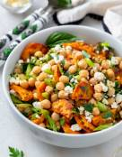 Roasted Sweet Potato Chickpea Feta Salad