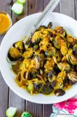 Roasted Brussel Sprouts with Coconut Curry Sauce