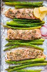 Garlic Butter Roasted Salmon with Asparagus
