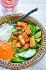 Crispy Garlic Tofu Rice Bowl with Romesco Sauce