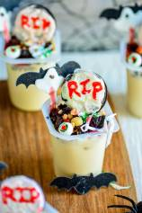 Witch House in Graveyard - Halloween Pudding Cups