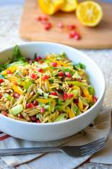Vegan Orzo Pasta Salad with Arugula and Meyer Lemon Dressing