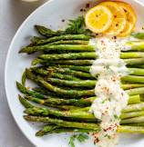 Oven Roasted Asparagus with Lemon Dill Sauce