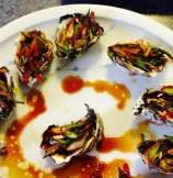 Baked Oysters with Garlicky, Sweet and Sour Scallion Sauce