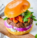 Greek Mint and Lamb Burgers with Cucumber Yogurt Sauce
