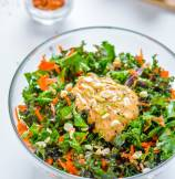 Kale and Carrots Salad with Chili Lime Peanut Dressing