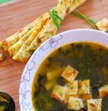 Kale and Zucchini Summer Soup with Chive Frittatine Croutons