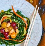 Sesame Sriracha Marinated Kale (Egg Nests) Salad