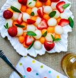 Strawberry Melon Salad with Honey-Lemon Dressing