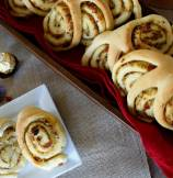 Three Swirls Breakfast Bread Rolls with Basil Pesto and Sun-dried Tomato