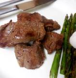 Himalayan Salt Block Cooked Lamb and Asparagus