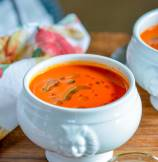 Tomato Bread Soup with Basil Oil