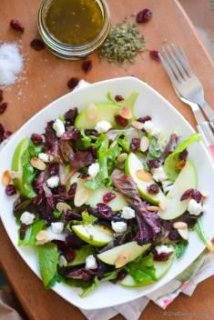 Apple and Goat Cheese Salad with White Balsamic-Herb Dressing | Boudin Bakery Copycat