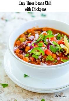 Easy Vegetarian Three Beans Chili with Chickpeas