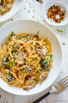 One Pot Gluten Free Spaghetti with Mushroom Sun-dried Tomato Cream Sauce