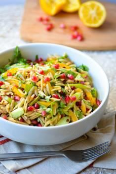 Vegan Orzo Pasta Salad with Arugula and Meyer Lemon Dressing
