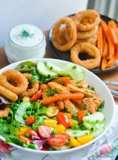 Tofu and Sweet Potato Fries Shawarma Salad Bowl with Onion Ring Croutons