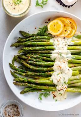 Oven Roasted Asparagus with Lemon Dill Sauce
