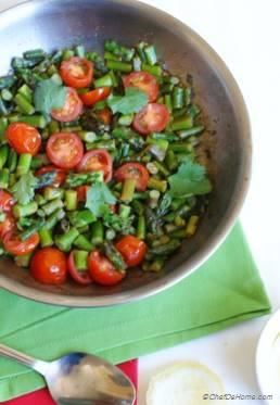 Asparagus with Garlic and Cherry Tomatoes