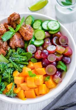 Broccoli Grape Salad with Mango and Buttermilk Dressing
