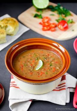 Easy Vegan French Lentils Soup in Pressure Cooker