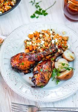 BBQ Chicken Drumsticks with Honey-Chipotle BBQ Sauce