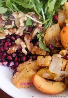 Turkey Stuffing Salad with Arugula and Crab Apples