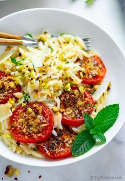 Roasted Tomatoes Orzo Pasta