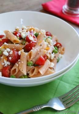 Summer Pasta Salad with Tomato, Feta and Orange Dressing